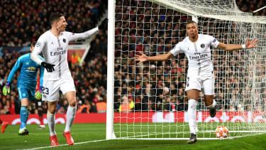 Kylian Mbappe celebrates scoring PSG's second goal against Manchester United