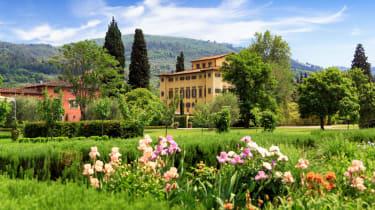A view from the iris garden at Villa La Massa