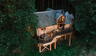 Aerial view of treehouse accomodation