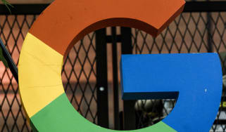 """BERLIN, GERMANY - JANUARY 22: A """"G"""" sign is on display during the press tour before the festive opening of the Berlin representation of Google Germany on January 22, 2019 in Berlin, Germany."""