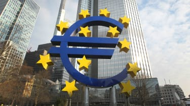 The Euro logo in front of the former headquarter of the European Central Bank in Frankfurt