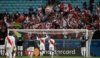 Peru players and fans celebrate their Copa America semi-final win over Chile