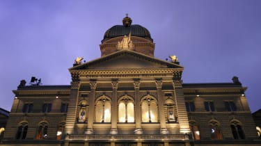 The Swiss Parliament at dusk