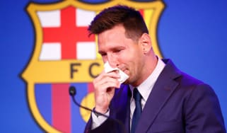 A tearful Lionel Messi
