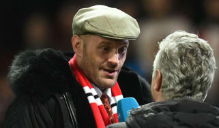 British heavyweight boxer Tyson Fury was interviewed on the pitch at Old Trafford