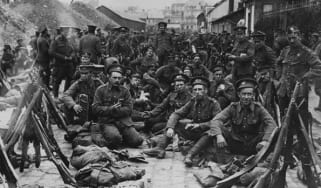 British soldiers, newly arrived in France ready themselves for the front line