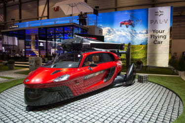 GENEVA, SWITZERLAND - MARCH 07: PAL-V PH-PAV is displayed at the 88th Geneva International Motor Show on March 7, 2018 in Geneva, Switzerland. Global automakers are converging on the show as