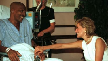 Princess Diana with a cancer patient
