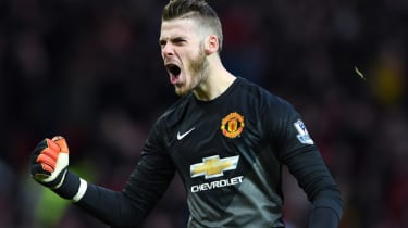 David De Gea of Manchester United celebrates during the match between Manchester United and Liverpool