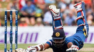 NELSON, NEW ZEALAND - JANUARY 20:Lahiru Thirimanne of Sri Lanka dives to make his ground during the One Day International match between New Zealand and Sri Lanka at Saxton Field on January 20