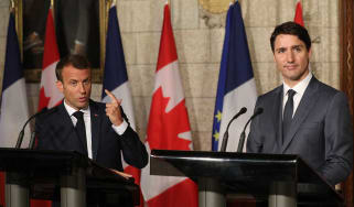 Macron and Trudeau hold a joint press conference ahead of Friday's G7 meeting
