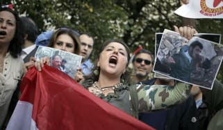 Pro-Sssad protesters demonstrate against Western military intervention in 2013
