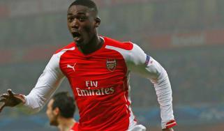Yaya Sanogo of Arsenal celebrates after scoring the opening goal during the match between Arsenal and Borussia Dortmund