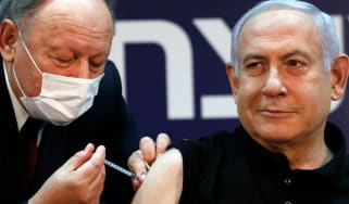 Benjamin Netanyahu receives a coronavirus vaccine at the Sheba Medical Center, the country's largest hospital.