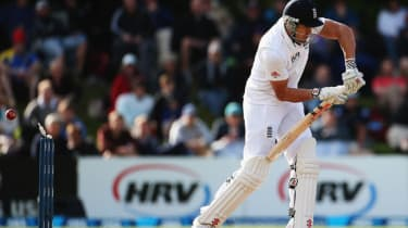 DUNEDIN, NEW ZEALAND - MARCH 07: Nick Compton of England is bowled by Tim Southee of New Zealand during day two of the First Test match between New Zealand and England at University Oval on M