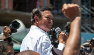 Opposition leader Kem Sokha addresses a rally in Phnom Penh in 2014