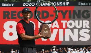 Tiger Woods celebrates his victory at the Zozo Championship in Japan