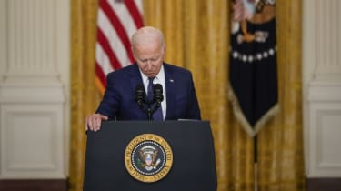 President Joe Biden pauses while he speaks about the situation in Afghanistan in the East Room of the White House on August 26, 2021 in Washington, DC.