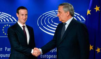 Mark Zuckerberg welcomed to European Parliament by president Antonio Tajani