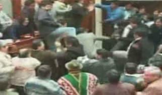 Bolivia parliament brawl