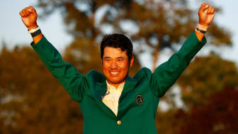 Japan's Hideki Matsuyama celebrates his victory in the Masters at Augusta National