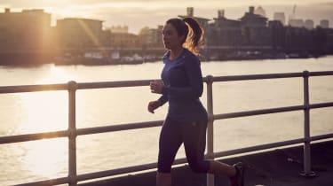 Woman running in London