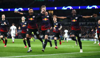 RB Leipzig striker Timo Werner celebrates his winner against Tottenham in the Champions League