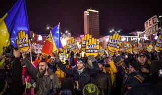 Street protests have broken out across Romania