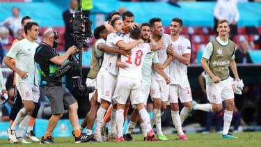 Spain celebrate their thrilling 5-3 win over Croatia in Copenhagen