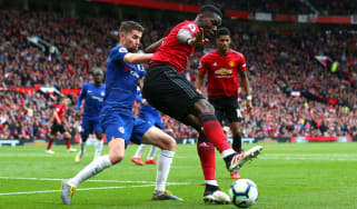 Manchester United midfielder Paul Pogba in action against Chelsea's Jorginho