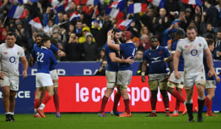 French players celebrate their win against England in the Six Nations