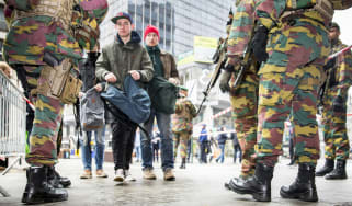 Soldiers patrol the streets of Brussels after the March attacks