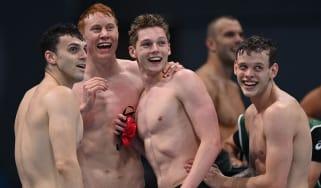 James Guy, Tom Dean, Duncan Scott and Matthew Richards celebrate their gold