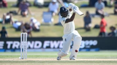 England's Jofra Archer bats during the final day of the first Test against New Zealand