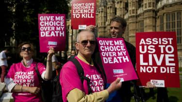 Campaigners protest against the Assisted Dying Bill
