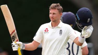 England captain Joe Root celebrates his double century against New Zealand in Hamilton