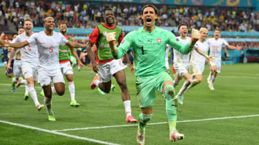 Switzerland keeper Yann Sommer celebrates his penalty save against France