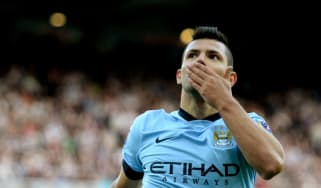Sergio Aguero celebrates scoring Manchester City's second goal against Newcastle