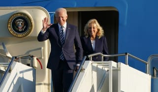 Joe and Jill Biden exit on Air Force One after flying into RAF Mildenhall in Suffolk