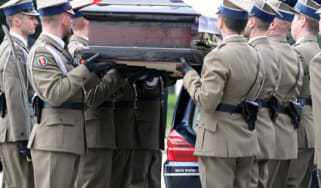 The coffin of Polish president Lech Kaczynski