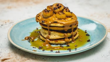 The Acai Girls's peanut butter, caramelised banana and cacao pancakes