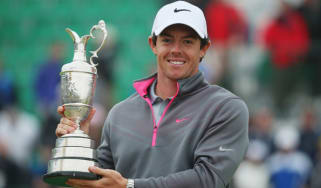 Rory McIlroy holds the Claret Jug after his victory at The 143rd Open Championship at Royal Liverpool on July 20