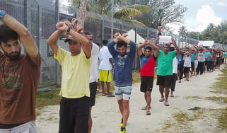 Asylum seekers protest against their forced removal from Manus Island
