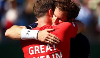 Andy Murray hugs Leon Smith - Davis Cup