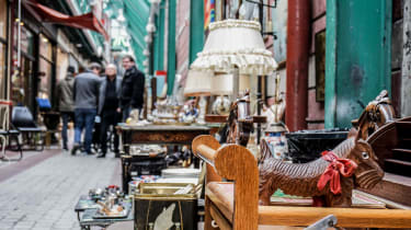 An avenue in an antique fair viewed from the ground