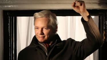 Wikileaks founder Julian Assange at the Ecuadorian Embassy in London