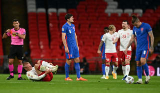 England defender Harry Maguire was sent off for two bookings against Denmark at Wembley