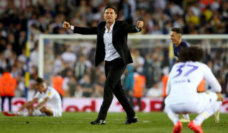 Derby County boss Frank Lampard celebrates his side's win against Leeds at Elland Road