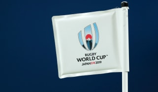 The 2019 Rugby World Cup logo on the pitchside flag