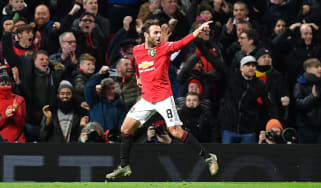Juan Mata of Man Utd celebrates after scoring the winner against Wolves